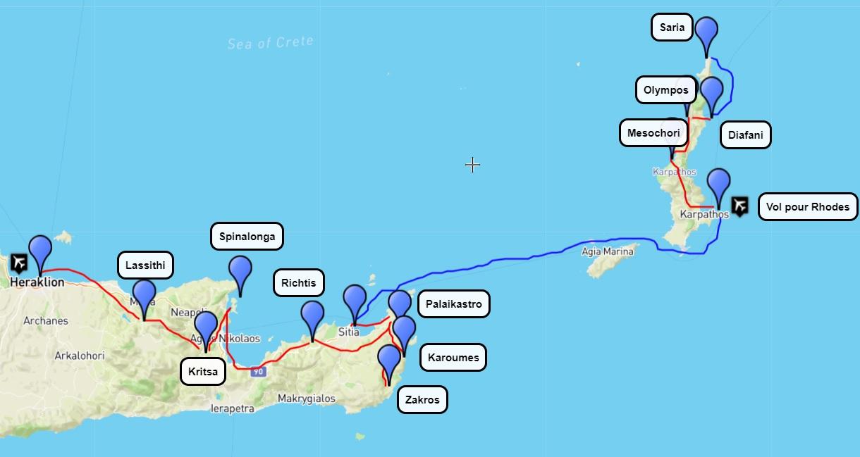 Itinéraire de randonnée en Crète de l'Est et Karpathos