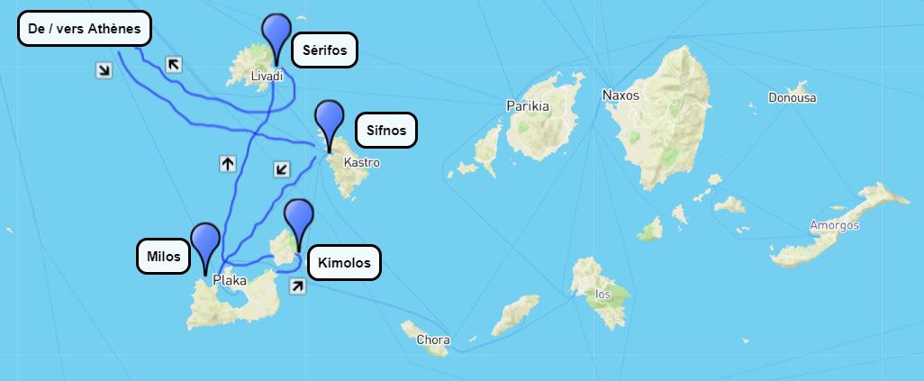 Plan du circuit de randonnée dans les Cyclades occidentales 15 jours