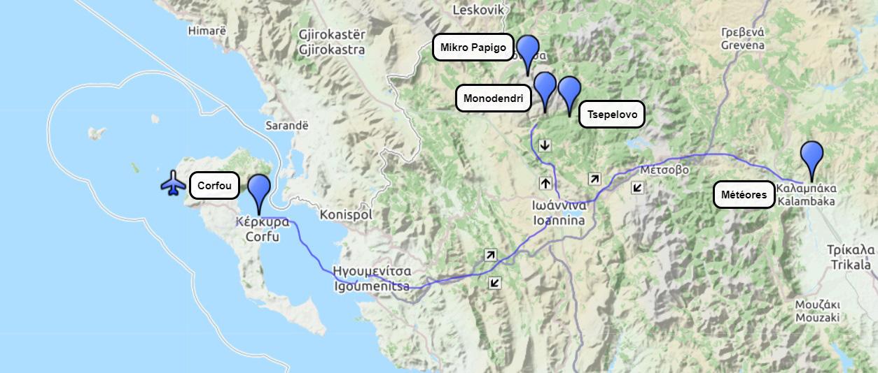 Plan du circuit de randonnée Épire et Météores 12 jours