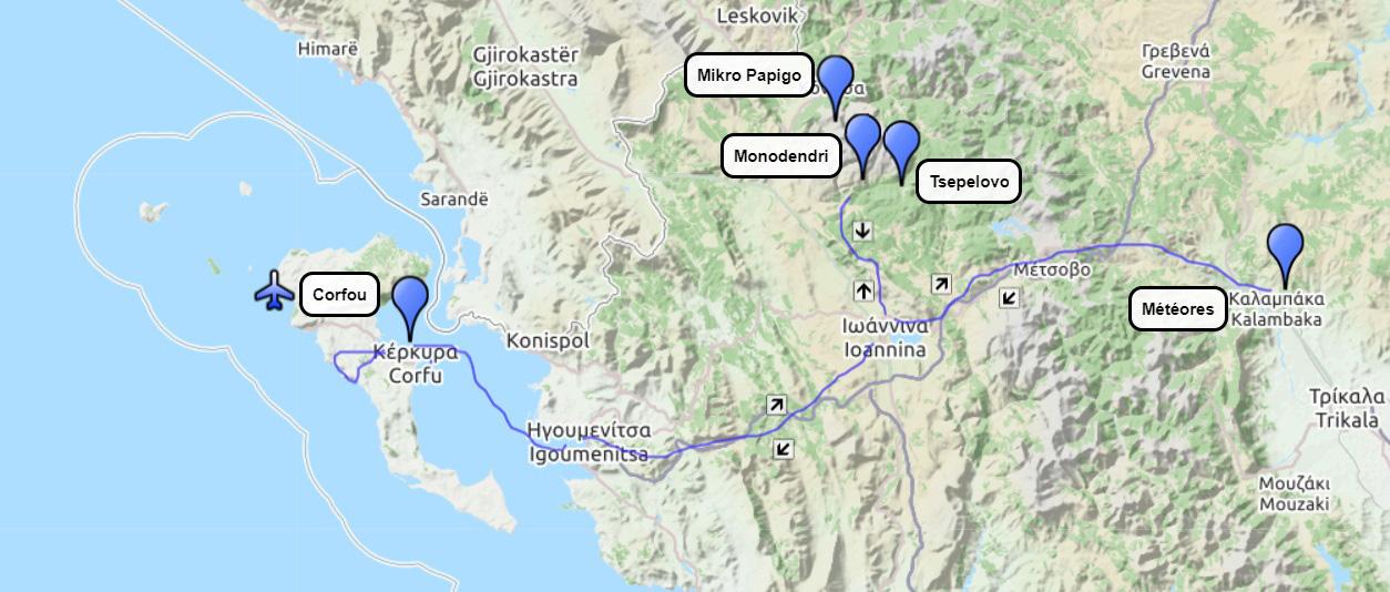 Circuit Épire Météores et Corfou : itinéraire de randonnée de 15 jours