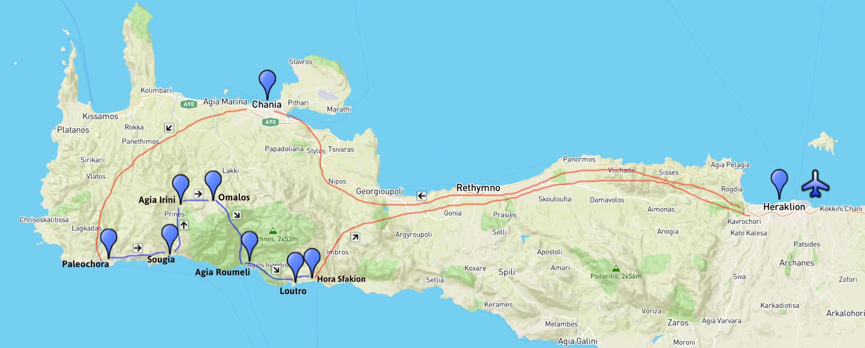 Plan de déroulement du circuit de randonnée en Crète de 8 jours avec Sharing Greece