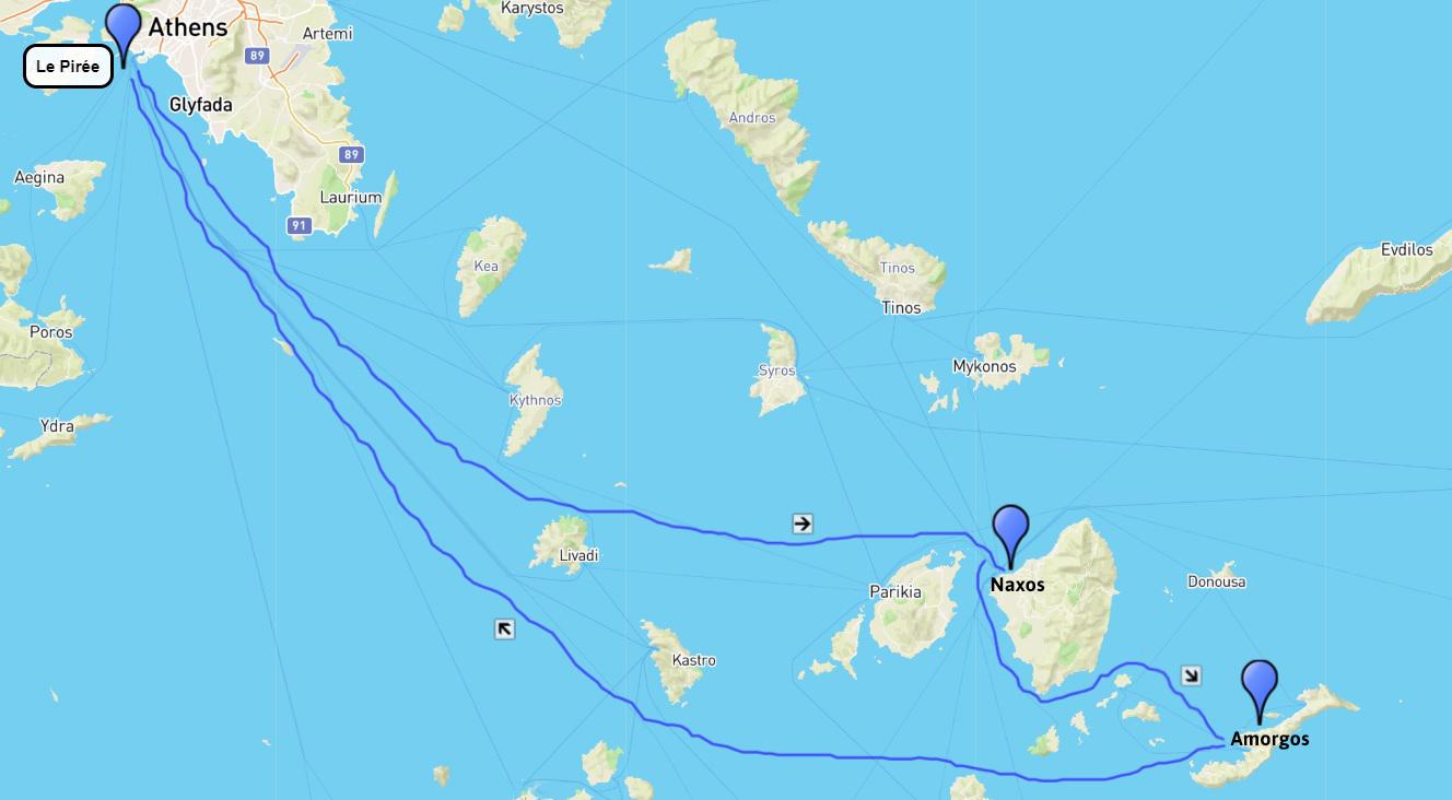 Plan du circuit de randonnée Naxos et Amorgos