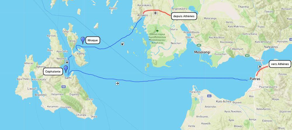 Plan de la randonnée dans les Îles ioniennes