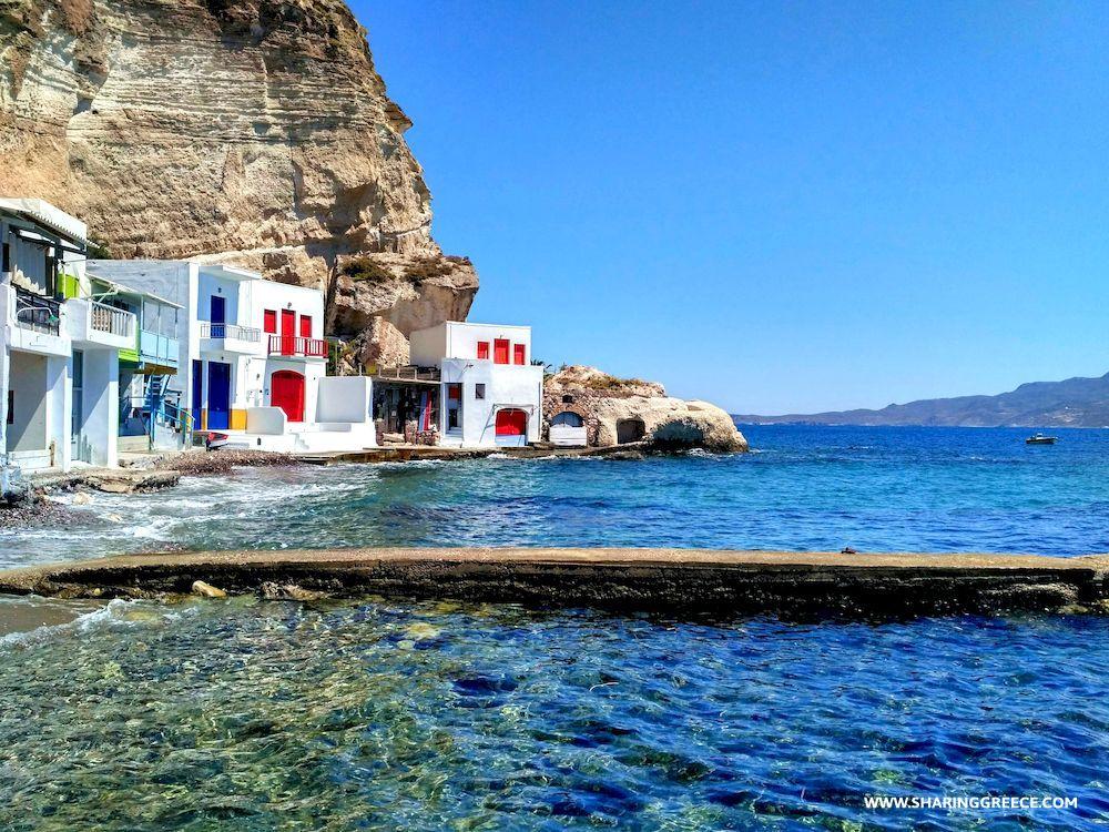 Randonnée en Grèce, Cyclades, Milos, village de Klima